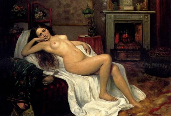Reclining Nude On A Draped Sofa